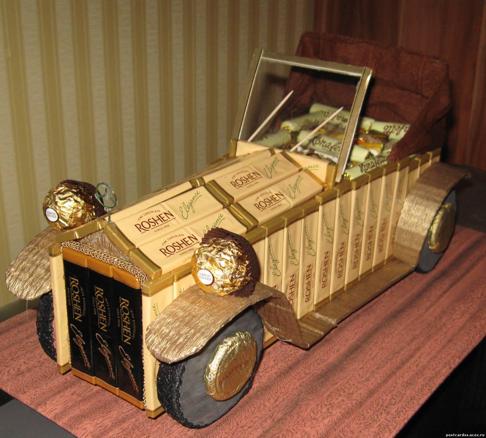 Подарки из конфет автомобиль